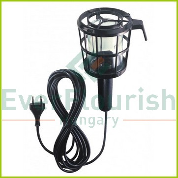 Hand lamp with plastic protective basket, E27, max.:60W, 5m, black, IP20 6902H