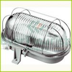 Oval lamp with steel protective basket, E27, max 100W, IP44, 230V~, grey 6910H