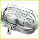 Hajólámpa, ovális, fémrácsos 100W, szürke 6910H