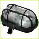 Oval lamp with plastic protective basket, E27, max 60W, IP44, 230V, black 6914H