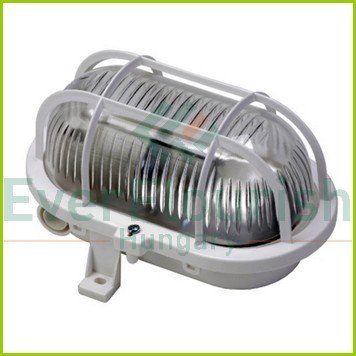 Oval lamp with plastic protective basket, E27, max 60W, IP44, 230V, white 6915H