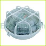 Plastic round lamp with protective basket, E27, max. 100W, IP44, white 6927H