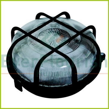 Plastic round lamp with protective basket, E27, max. 100W, IP44, black 6928H