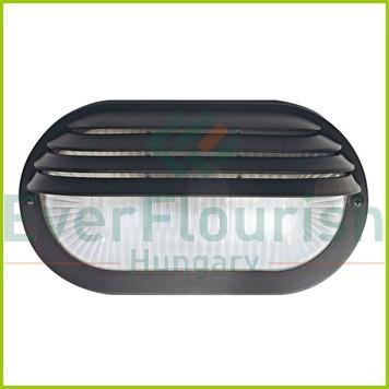 Hajólámpa, ovális, félig fedett, műanyagráccsal, fekete 6930H