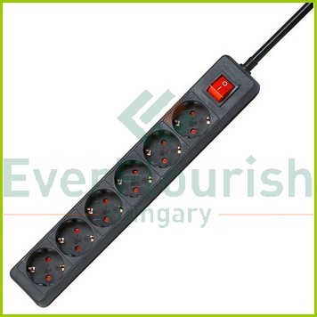 Table socket 6way with switch 1.4m, 3G1.5mm², black 7118H