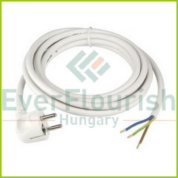 Csatlakozóvezeték földelt dugóval, 3m, 3x1.5, fehér, H05VV-F 77333