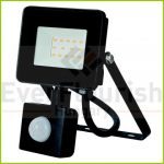 "LED floodlight ""EcoSpot"" 10W with motion detector 700lm, black, IP44 8177H"