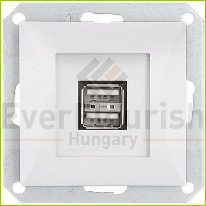 OPAL usb double socket without frame, white 8739H