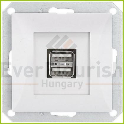 OPAL dupla USB aljzat keret nélkül, fehér 8739H