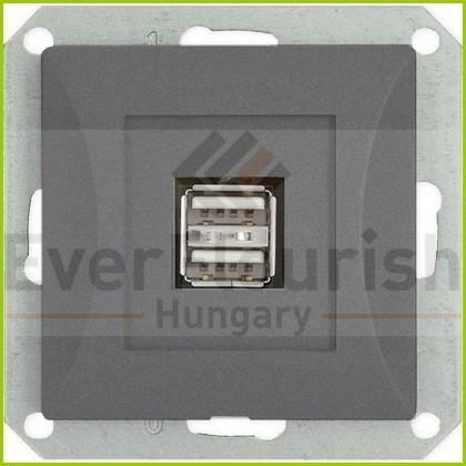 OPAL dupla LAN/telefon aljzat RJ-45 keret nélkül, grafit 8759H