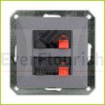 OPAL double loudspeaker socket without frame, graphite 8760H