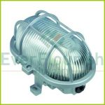 Oval lamp with plastic protective basket, 230V, silver 90047