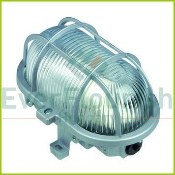 Hajólámpa, ovális, műanyagráccsal 60W, szürke 90047