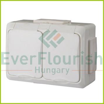 IT WATER 2 férőhelyes dugalj gyv., falon kívüli, krém, IP54 9174H