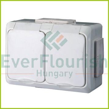 IT WATER 2 férőhelyes dugalj gyv., falon kívüli, fehér, IP54 9854H